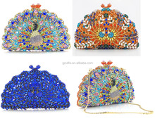 Wholesale Peacock crystal clutch bags,designer evening crystal bag by handmade bag crystal