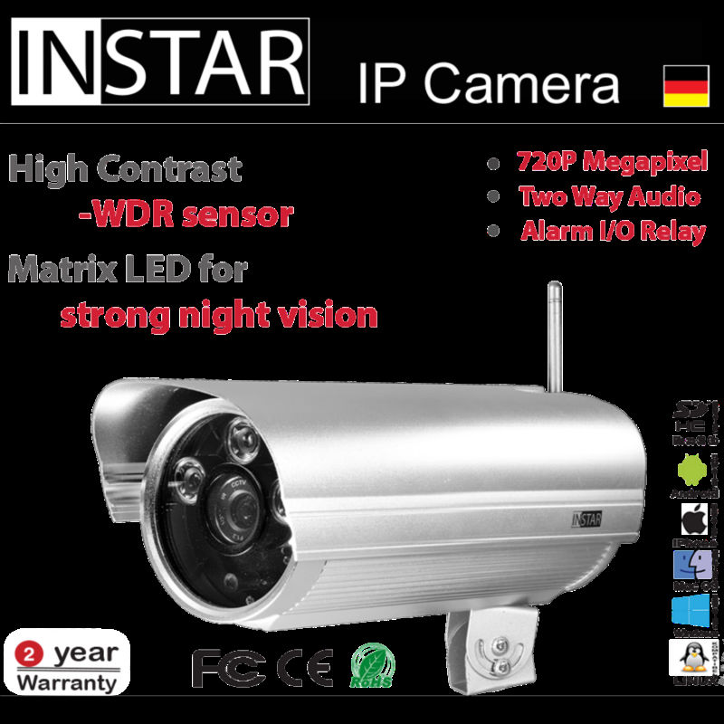 720p Megapixel IP WiFi camera with High Power LEDs