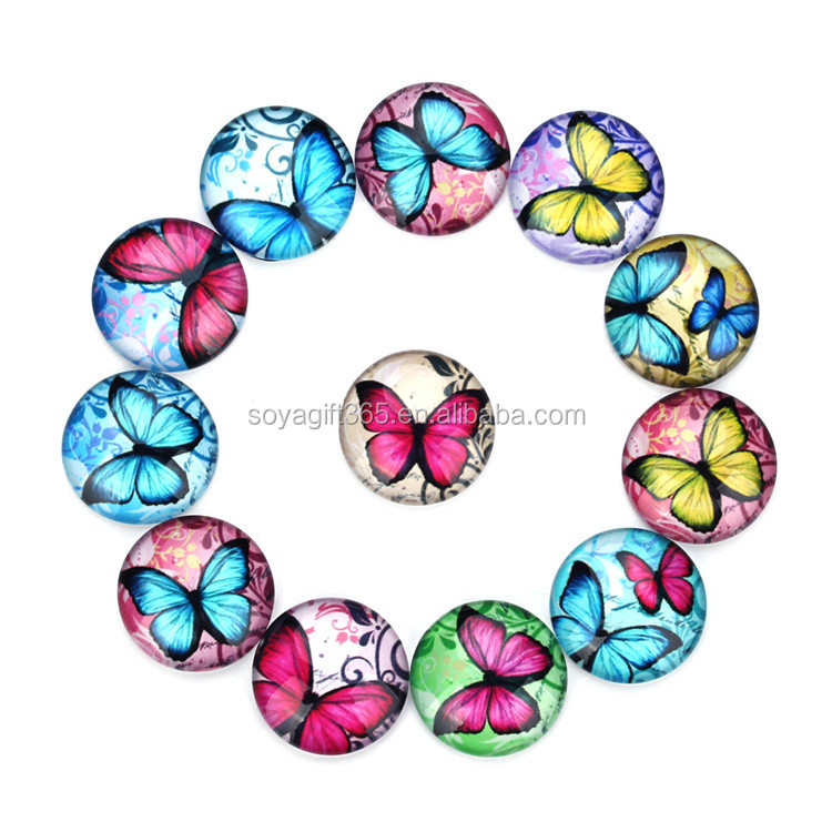 10-35mm K0297 DIY Accessories Various Color Butterfly Pattern Time Glass Gem Stone