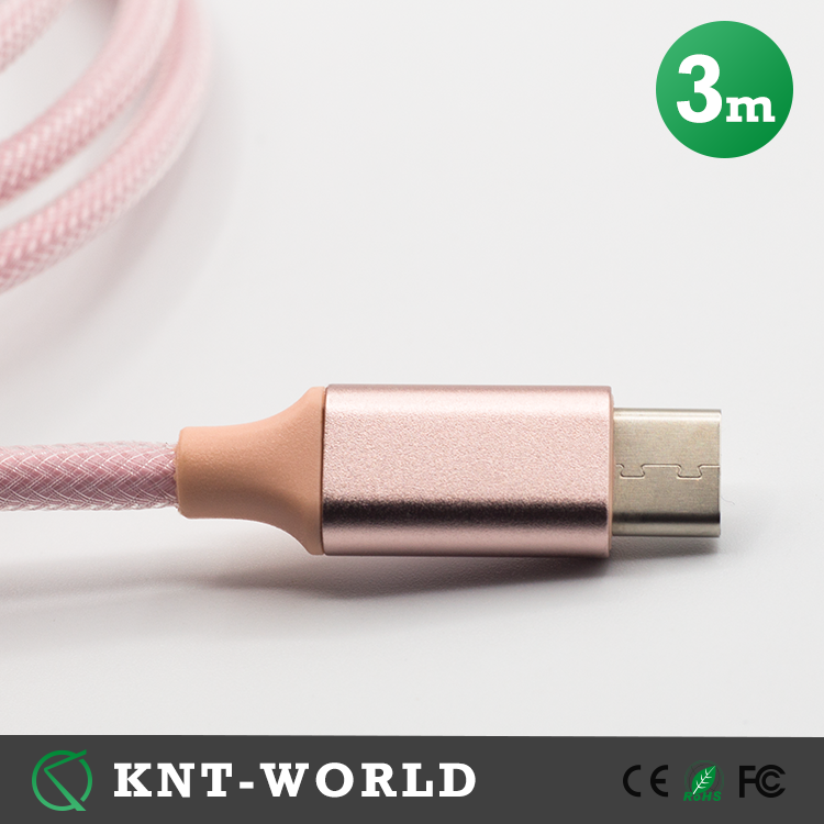 3M 10Ft Pink Braided Usb 2.0 Data Cable Type-<strong>c</strong> Android Usb Cable