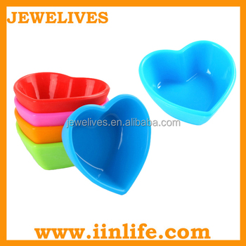 Food grade heart shaped mini silicone condiment tray