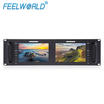 7 inch IPS 3RU programme broadcasting equipment Dual High Resolution LCD Rack Mount Monitor