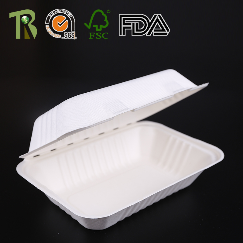 Eco-Friendly Sugarcane Bagasse Plup Moulded Tableware Lunch Box