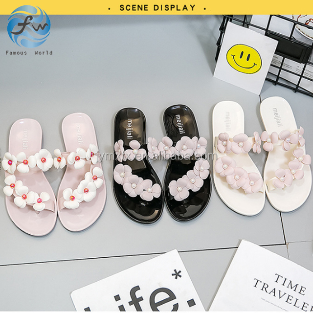 2018 Fancy pvc flip flop plastic lady slipper Flower Jelly Sandals Women shoes pvc eva slippers