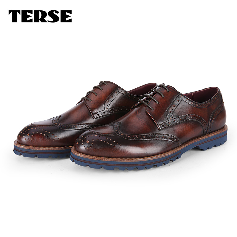 TERSE OEM fashion branded men gender leather shoes Brogue Oxford handcrafted shoes drop shipping service