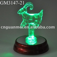 glass Aries with LED light