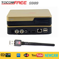 TocomFree S989 Satellite TV Receiver+USB WiFi with Free IKS SKS IPTV TV Box for Brazil Chile Peru South America free FTA DVB-S..