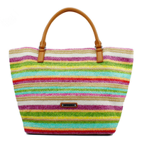 Lady fashion paper straw beach bag straw with leather handle