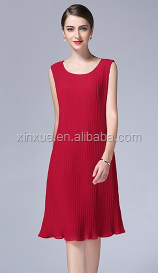 Pleated Korean tank hem red knee dress for women