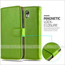 For Samsung Note 3 Crazy Horse Pu Leather+ Tpu Inside Wallet Magnetic Buckle Stand Case