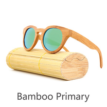New style natural <strong>bamboo</strong> round frame sunglasses,accept custom