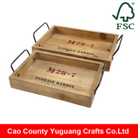 Yuguang Crafts Custom Accepted Antique Wooden Tray Set With Metal Handle