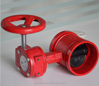 Groove butterfly valve with worm gear