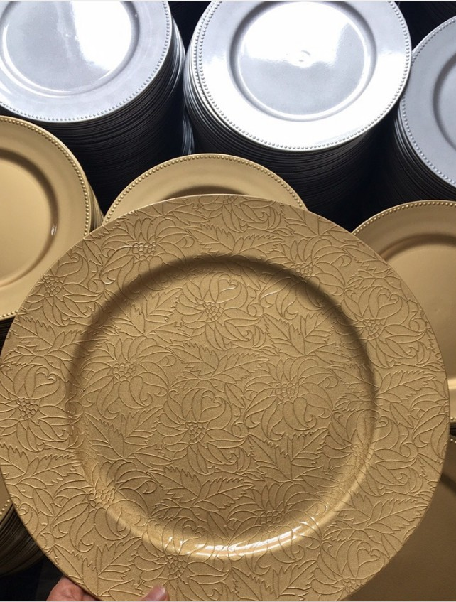 13 inch round wedding party table centering decorative gold flat pp plastic charger plate