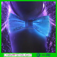 2016 fashion luminous LED glow fiber optic fabric led bow tie