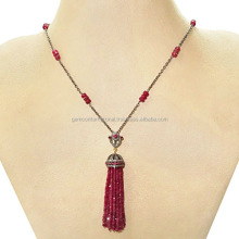 Ruby Gemstone Beaded Tassel Necklace Pave Diamond Gemstone Jewelry Supplier