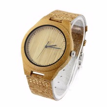 2018 Engraving Cork Strap WIth Logo Bamboo Wood Cork Watch