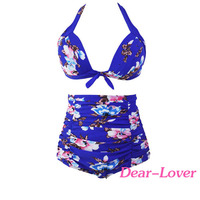 Trendy Floral Print Royal Blue High Waist Sex Girls Bikini Swimsuit