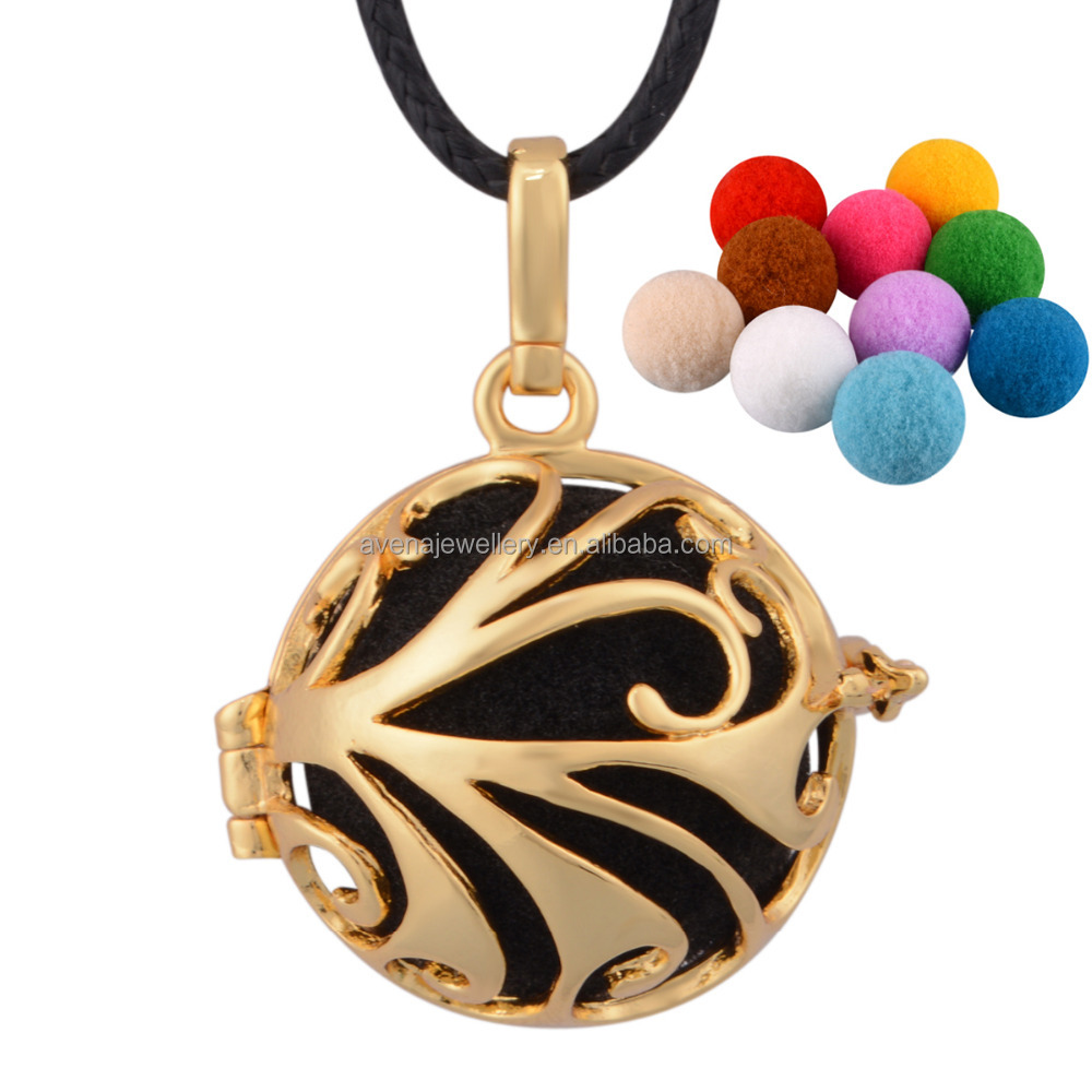 Factory Wholesale Aromatherapy Essential 0il Necklace Pendant Gold Locket Designs for girls Harmony Bola Ball H51E