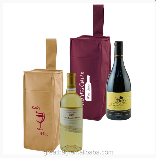 Insulated 1 Bottle Wine Carrier Bags Cooler Bag