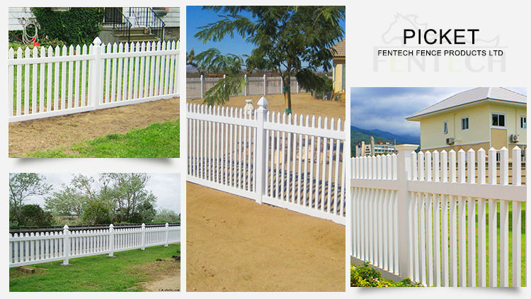 Best Quality Fentech 100% Pvc Uv Proof picket Pvc/Plastic/Picket Fence