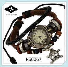 PS0067 Stock Selling Fashon Leather Braided Men Skull discount watches