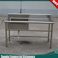 Ss304/201 Mobile Commercial Restaurant Kitchen Stainless Steel Sink Work Table For Sale