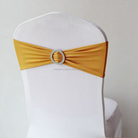 Gold Wedding Spandex Chair Band With Buckle