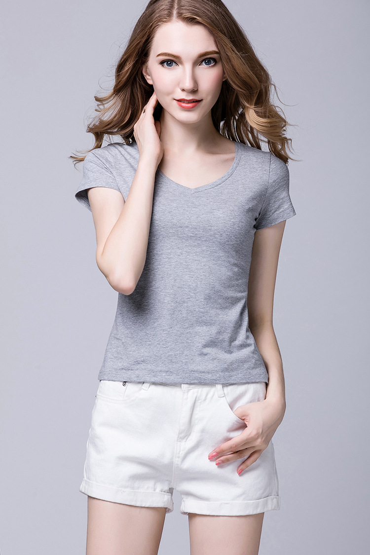 2018 summer new women's clothing Europe and America slim cotton short-sleeved t-shirt women's V-neck solid color large size