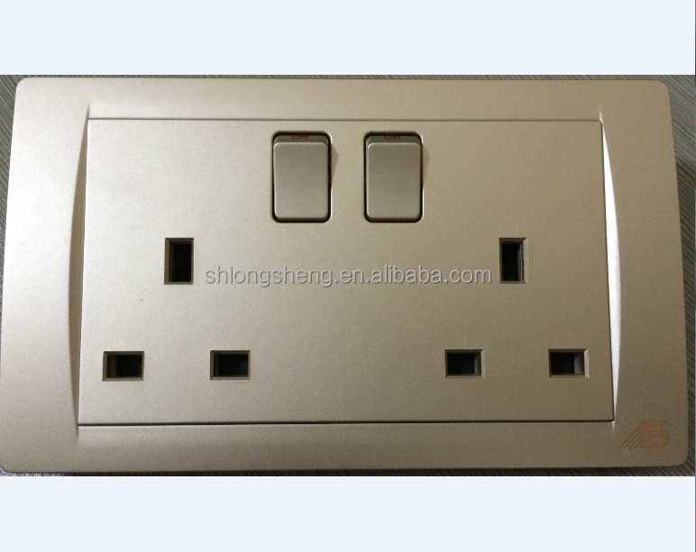 13a double pole switch socket New design 2 gang Electrical wall socket outlet for home