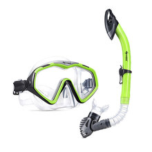 Professional adult silicone one piece snorkeling swimming mask and snorkel