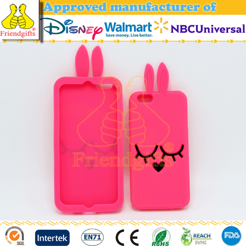 Custom mobile phone silicone Case cover with rabbit ears for iPhone 7 Plus case phone accessories