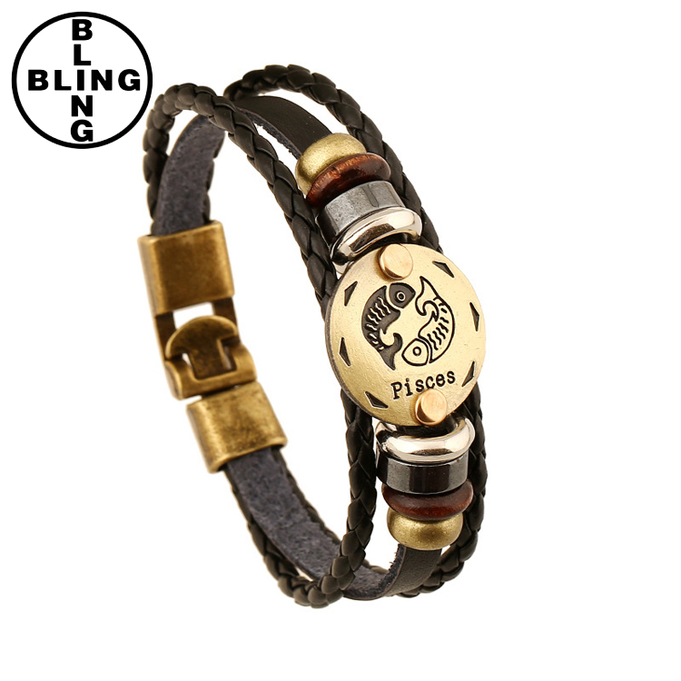 Men Charm Jewelry 12 Zodiac Signs Bracelet Punk Leather Bracelet
