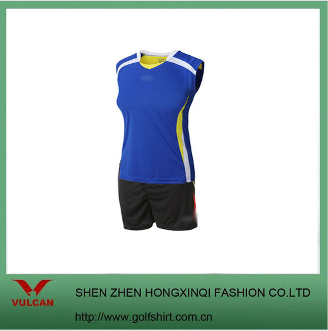 women's blue color dry fit material sports jersey volleyball