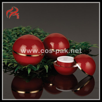 Red Ball Shape Plastic Double Wall Cream Jar