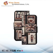 England stamp with card slot standing design 6s pu phone case