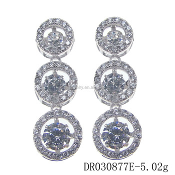 Dancing diamond earring three circle shape drop earring zirconia silver 925 earring DR0308771E