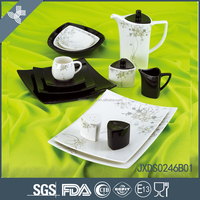 Wholesale ceramic good quality black exquisite spanish style dinnerware