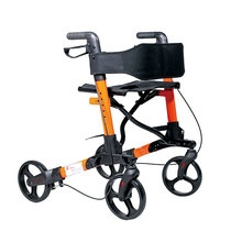 Foldable handicapped Rollator walker with adjustable height
