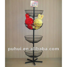 floor standing retail promotion wire revolving round basket display rack