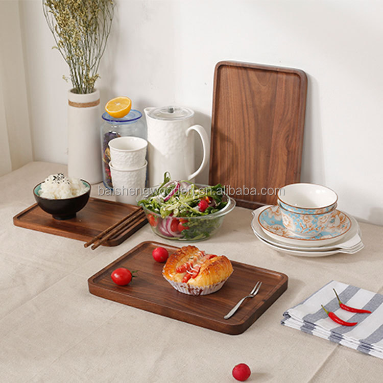 baisheng glue board black walnut dinner plates wooden food serving trays