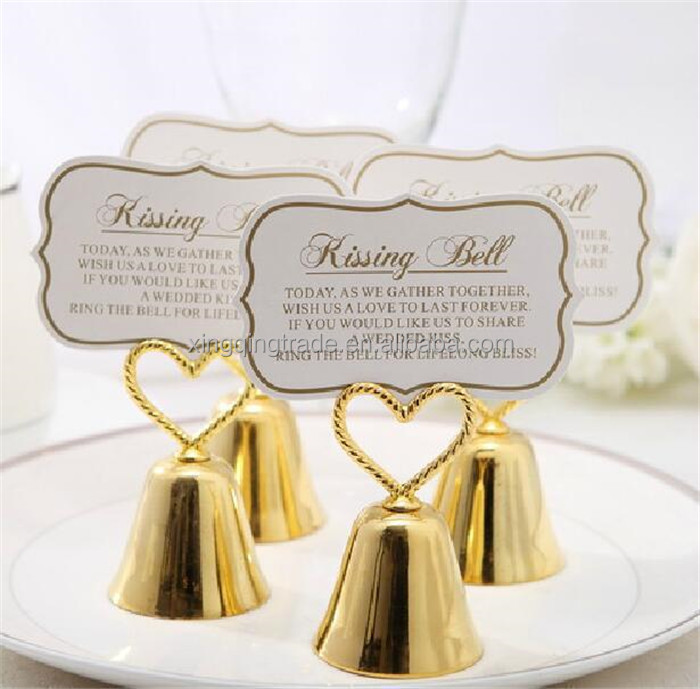 Wedding favor party decoration--Gold color kissing bell wedding place name card holder