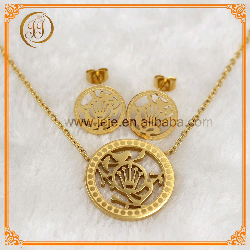 Hot sale hollow out hand design 18k gold jewelry set