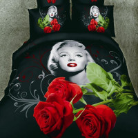 Luxury Red Roses Marilyn Monroe 3d Bedding Sets 100% Cotton