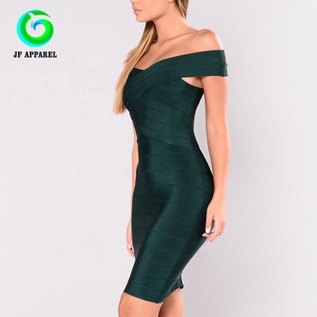Black Off Shoulder Bandage Dress cross body dress