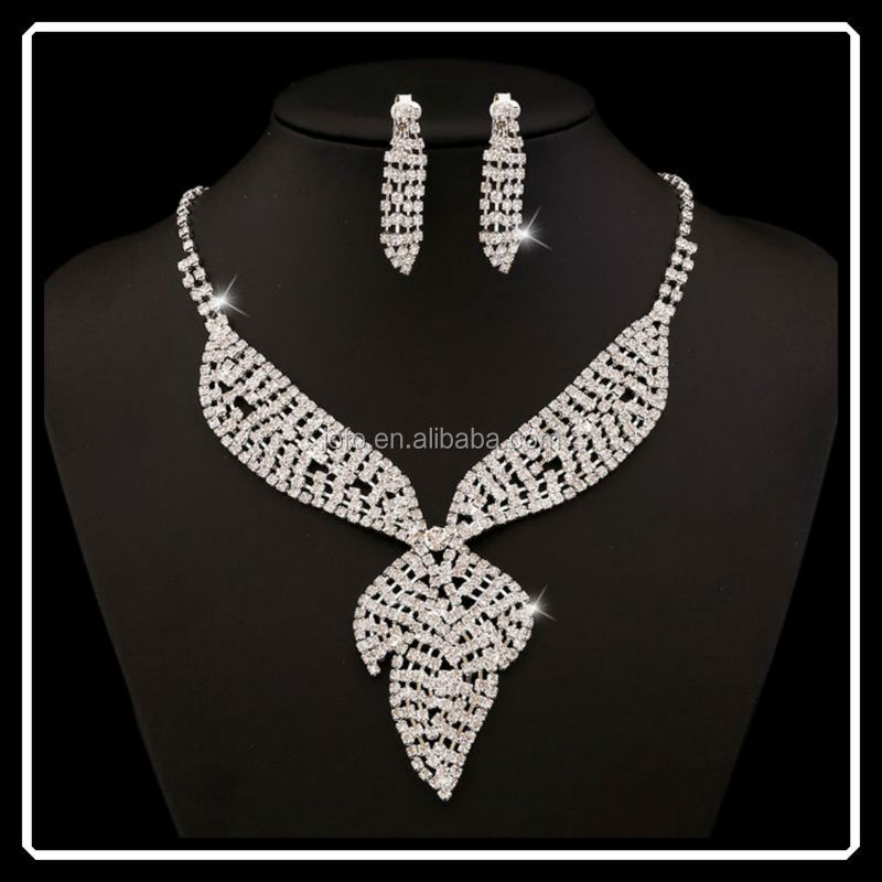 2015 Dubai Platinum Plated Hyperbole Leaf Shape Rhinestone Jewelry Sets For Party Wedding
