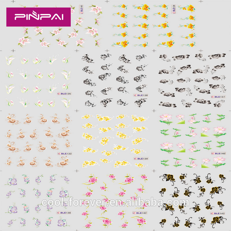 pinpai brand most populai cheap water transfer printing ble nail art stickers