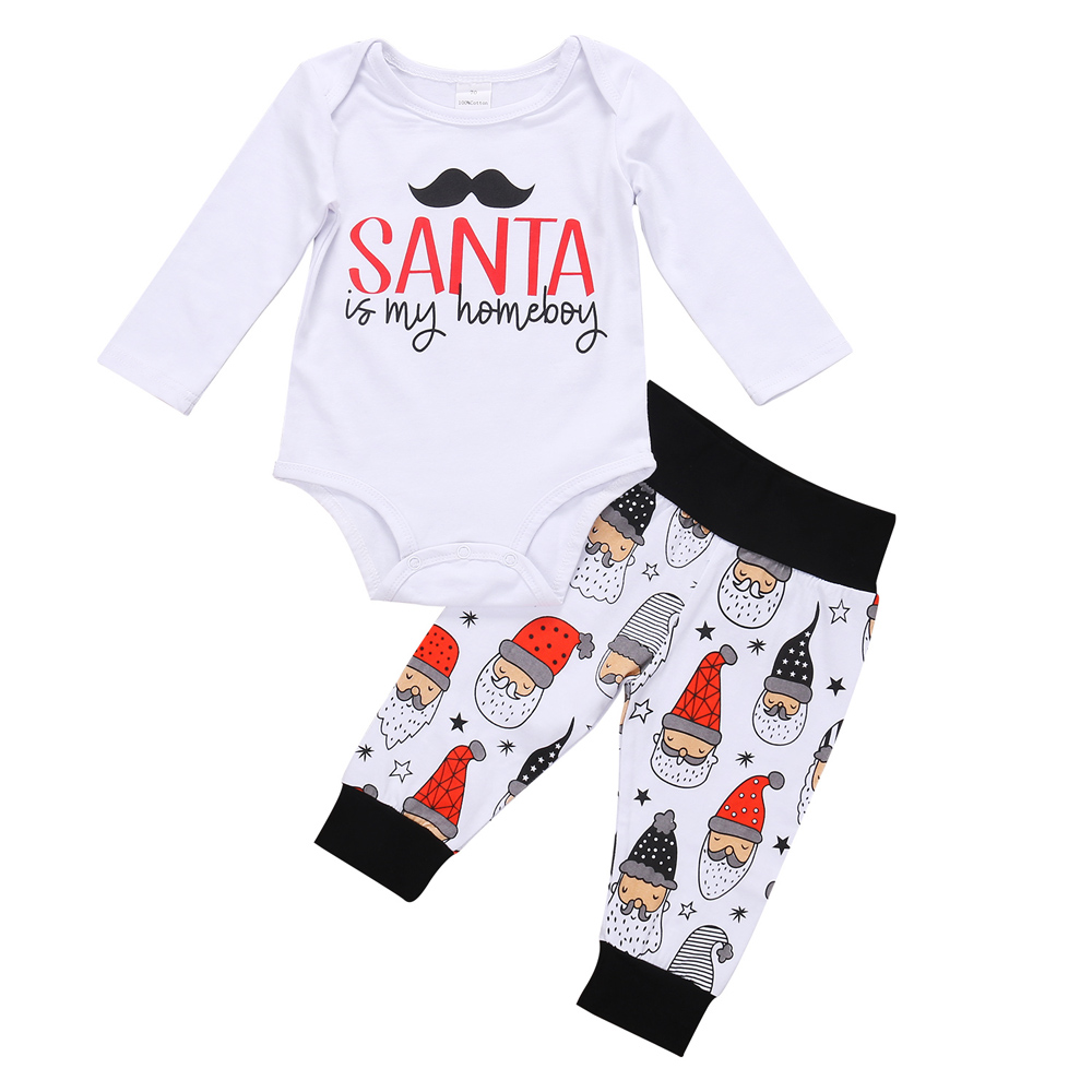 Christmas Cute Baby Boy Girl Clothes Newborn Toddlers Cotton Long Sleeve Romper+Santa Claus Pants Infant 2Pcs Baby Clothing Set