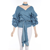 Wholesale Model Blouse Neck Designs Denim Cotton Ladies Clothing Blouse