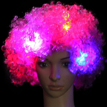 Hot Selling Dancing Party Favors Led Curly Hair Wig With RGB Colors LED Flashing Wigs